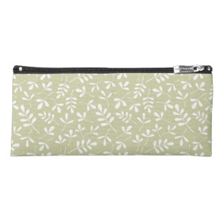 Assorted Leaves Pattern White on Lime Pencil Case