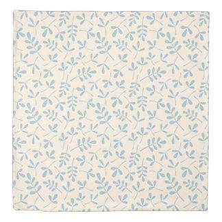 Assorted Leaves Ptn Blue on Cream Duvet Cover