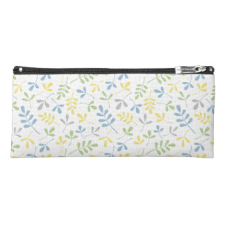 Assorted Leaves Ptn Blue Yellow Grn Gray White Pencil Case