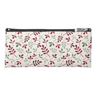 Assorted Leaves Ptn Reds & Greens on Cream Pencil Case