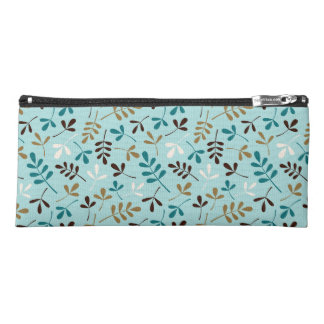 Assorted Leaves Ptn Teals Cream Gold Brown Pencil Case