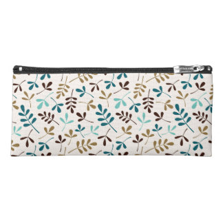 Assorted Leaves Ptn Teals Gold Brown on Cream Pencil Case