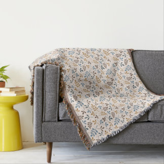 Assorted Leaves Rpt Pattern Blues Brown Gold Cream Throw Blanket