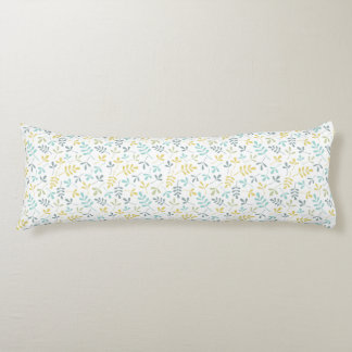 Assorted Leaves Rpt Pattern Color Mix on White Body Pillow