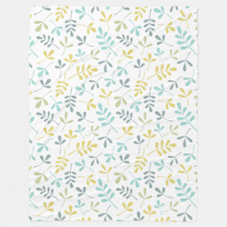 Assorted Leaves Rpt Pattern Color Mix on White Fleece Blanket
