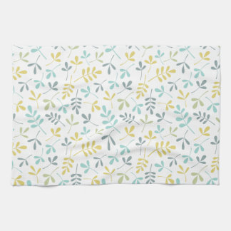 Assorted Leaves Rpt Pattern Color Mix on White Kitchen Towel