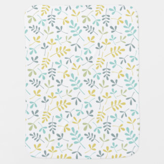 Assorted Leaves Rpt Pattern Color Mix on White Receiving Blankets