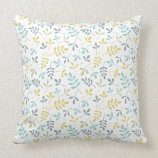Assorted Leaves Rpt Pattern Color Mix on White Throw Pillow
