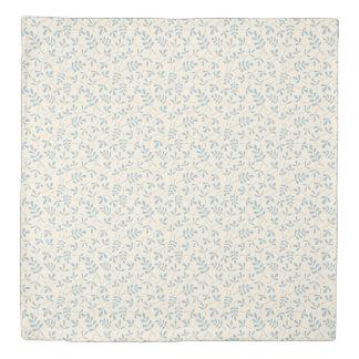 Assorted Leaves Rpt Ptn Blue on Cream Duvet Cover