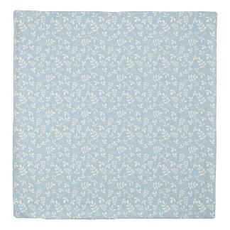 Assorted Leaves Rpt Ptn Cream on Blue Duvet Cover