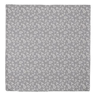 Assorted Leaves Rpt Ptn Cream on Grey Duvet Cover