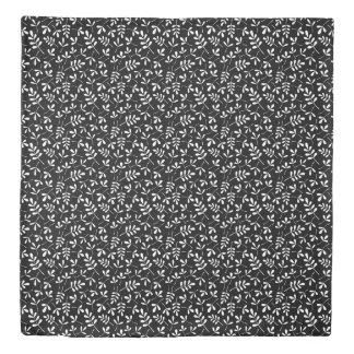 Assorted Leaves Rpt Ptn White on Black Duvet Cover