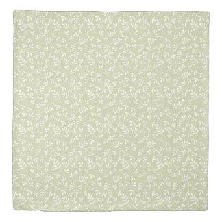 Assorted Leaves Rpt Ptn White on Lime Duvet Cover