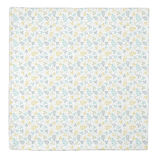Assorted Leaves Sml Pattern Color Mix on White Duvet Cover