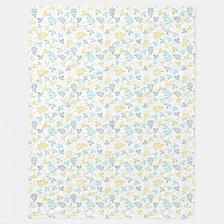 Assorted Leaves Sml Pattern Color Mix on White Fleece Blanket