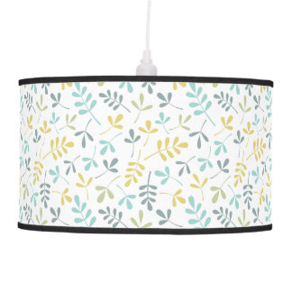 Assorted Leaves Sml Pattern Color Mix on White Hanging Lamp