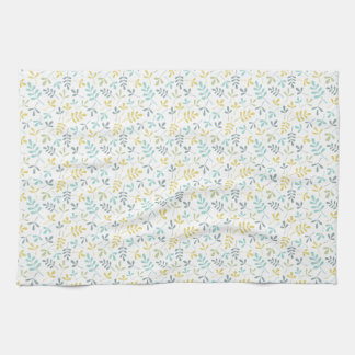 Assorted Leaves Sml Pattern Color Mix on White Kitchen Towel