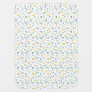 Assorted Leaves Sml Pattern Color Mix on White Stroller Blankets
