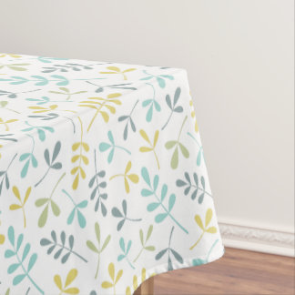 Assorted Leaves Sml Pattern Color Mix on White Tablecloth