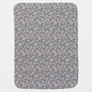 Assorted Leaves Sml Pattern Cream on Grey Baby Blanket