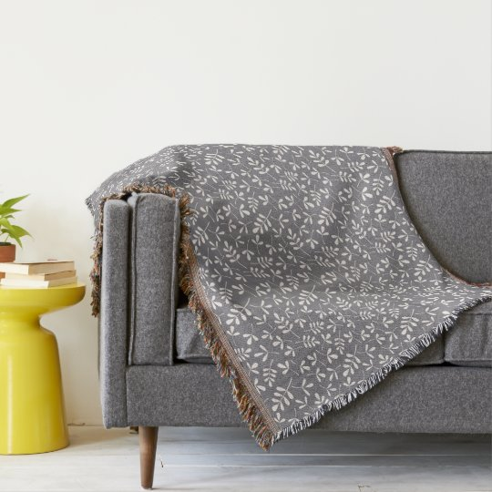 Assorted Leaves Sml Pattern Cream on Grey Throw