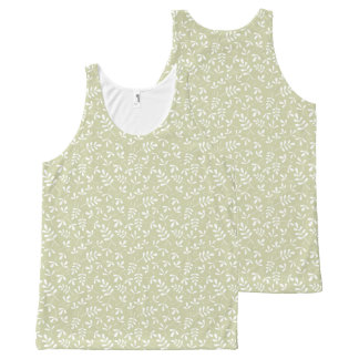 Assorted Leaves Sml Pattern White on Lime All-Over-Print Tank Top