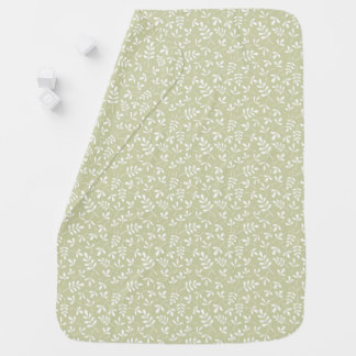 Assorted Leaves Sml Pattern White on Lime Baby Blanket