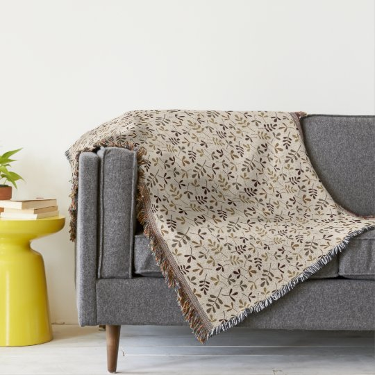 Assorted Leaves Sml Ptn Gold Browns Cream Throw Blanket