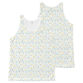Assorted Leaves Sml Rpt Ptn Color Mix on White All-Over-Print Tank Top