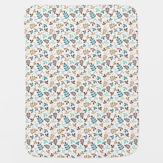 Assorted Leaves Teals Gld Brwn on Crm Sml Pattern Baby Blanket