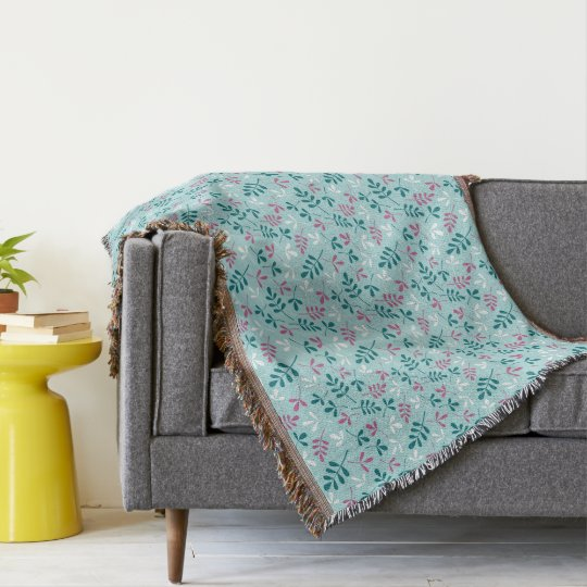 Assorted Leaves Teals White Pink Sml Pattern Throw Blanket