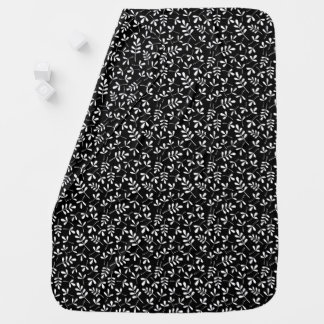 Assorted Leaves White on Black Small Pattern Baby Blanket