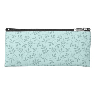 Assorted Mid on Light Teal Leaves Pattern Pencil Case