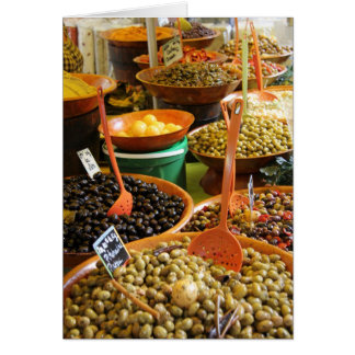Assorted olives at a Provencal market in France Card