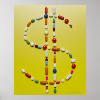 Assorted pills creating dollar symbol posters