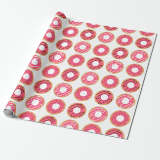 Assorted Pink Donuts Pattern Wrapping Paper