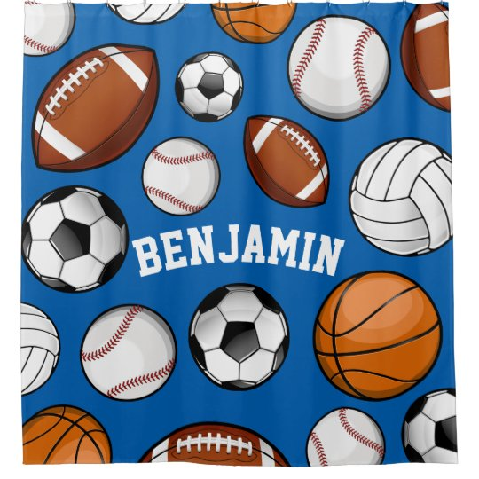 Assorted Sports Personalized Name Blue