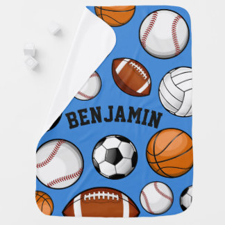 Assorted Sports Player Custom Name Baby Blue Baby Blanket