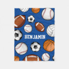 Assorted Sports Player Custom Name Blue Fleece Blanket