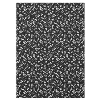 Assorted White Leaves on Black Sml Pattern Tablecloth