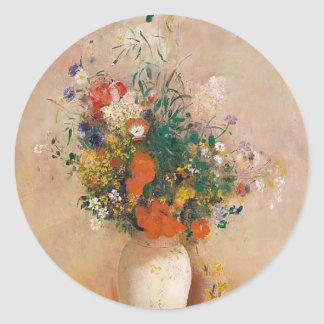 Assortion of Flowers in Vase Classic Round Sticker