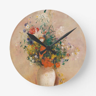 Assortion of Flowers in Vase Round Clock