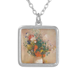 Assortion of Flowers in Vase Silver Plated Necklace