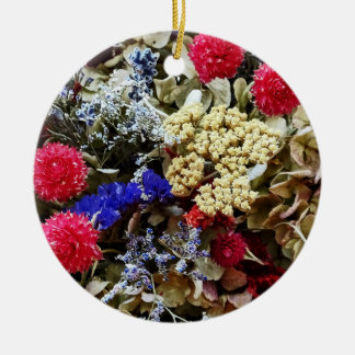 Assortment Of Dried Flowers Ceramic Ornament