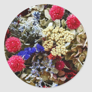 Assortment Of Dried Flowers Classic Round Sticker