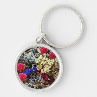 Assortment Of Dried Flowers Keychain