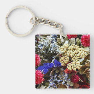 Assortment Of Dried Flowers Keychain