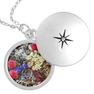 Assortment Of Dried Flowers Locket Necklace