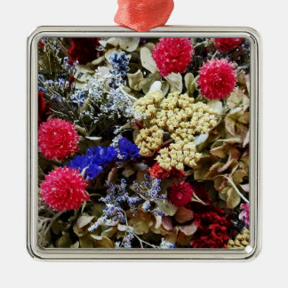 Assortment Of Dried Flowers Metal Ornament