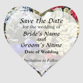 Assortment Of Dried Flowers Save the Date Heart Sticker